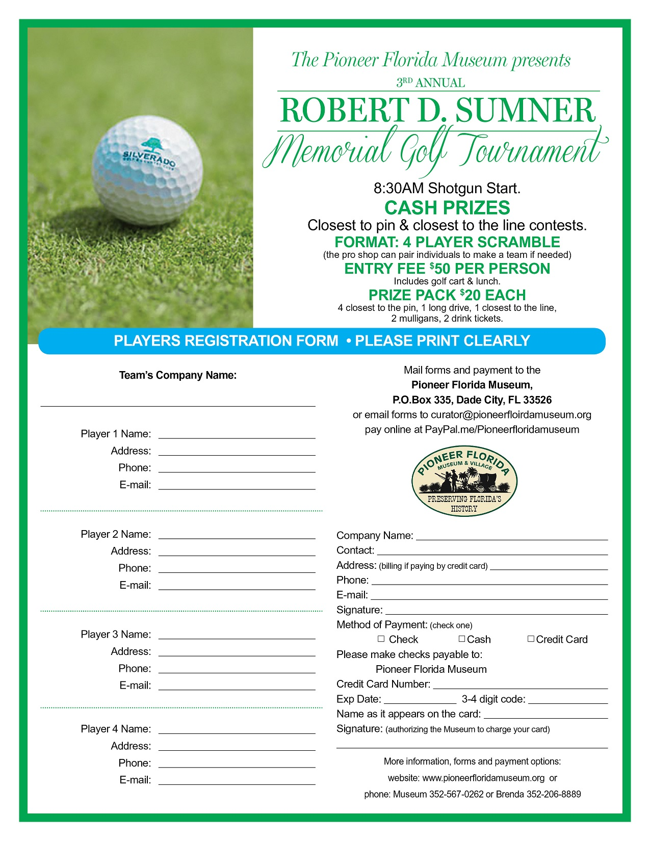 Sumner Golf Tourn Registration 2018