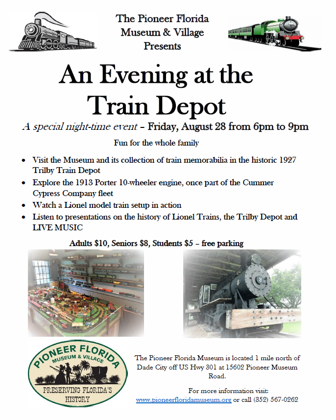 an evening at the train depot this one